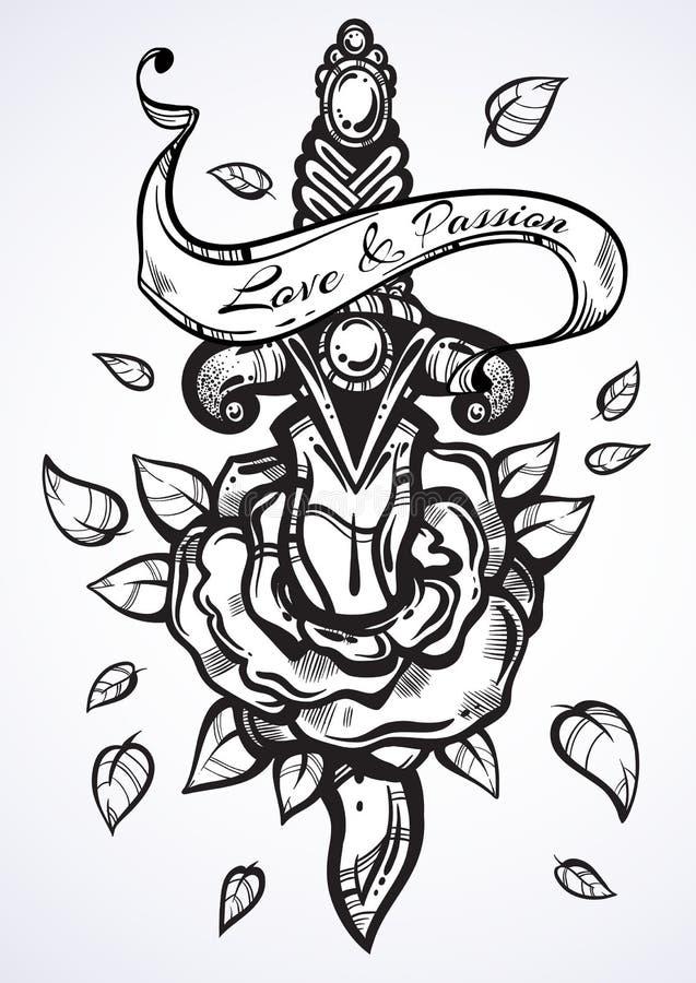 Ilustração tirada mão do vetor da rosa com faca Detalhou belamente a arte finala do vintage isolada Romance escuro Tatuagem Desig ilustração stock
