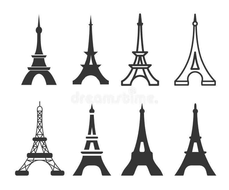 Ilustração tirada mão do vetor da silhueta de construção famosa de Paris no fundo branco ilustração stock