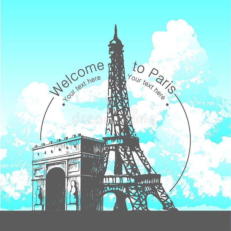 Ilustração tirada mão do vetor da silhueta de construção famosa de Paris no fundo branco ilustração do vetor
