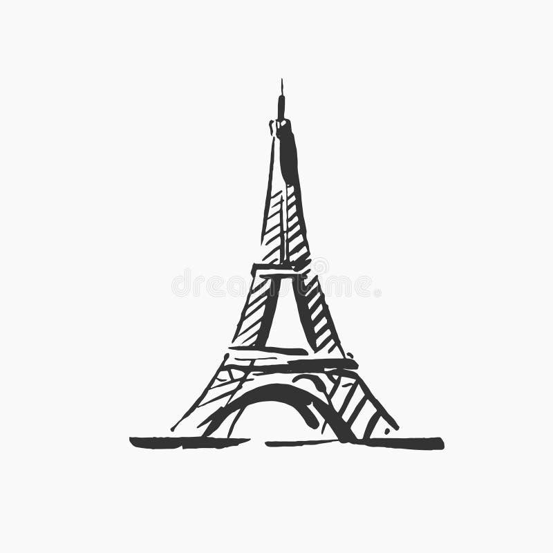 Ilustração tirada mão do vetor da silhueta de construção famosa de Paris no fundo branco ilustração royalty free