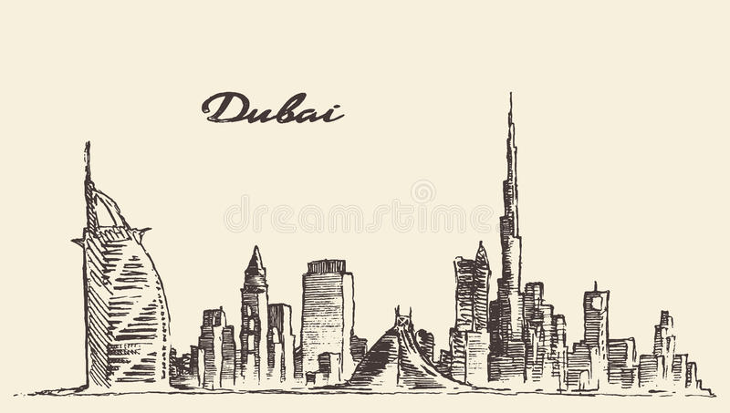 Ilustração tirada mão do vetor da skyline da cidade de Dubai ilustração do vetor