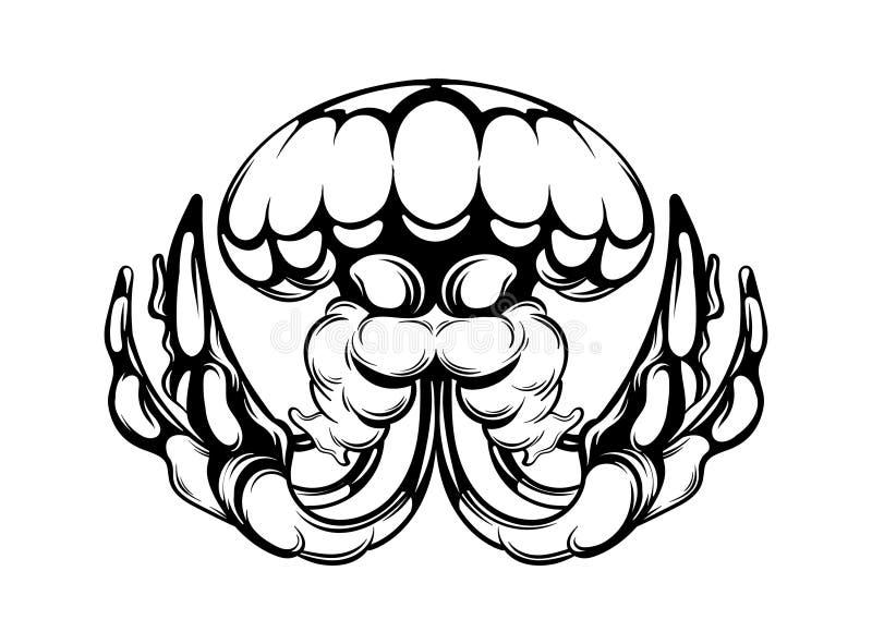 Ilustração tirada mão do vetor das medusas isoladas Arte finala criativa da tatuagem ilustração do vetor