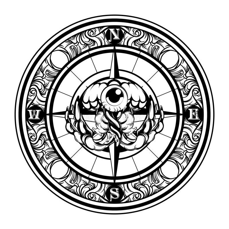 Ilustração tirada mão do vetor das medusas isoladas com compasso Arte finala criativa da tatuagem ilustração royalty free
