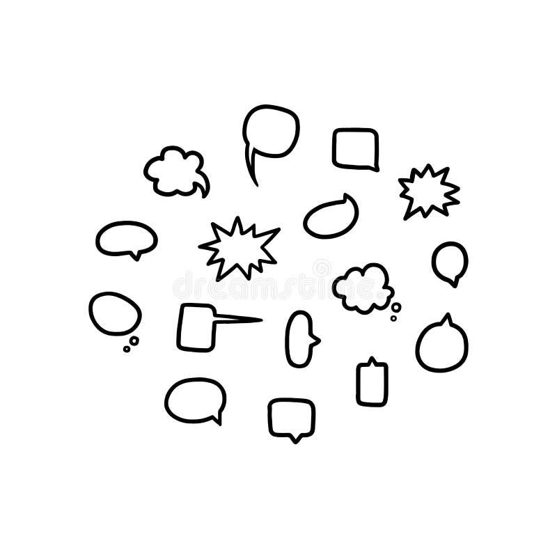 A ilustração tirada mão do vetor de bolhas vazias vazias do discurso ajustou-se em preto e branco Conversa, balão do bate-papo ilustração stock