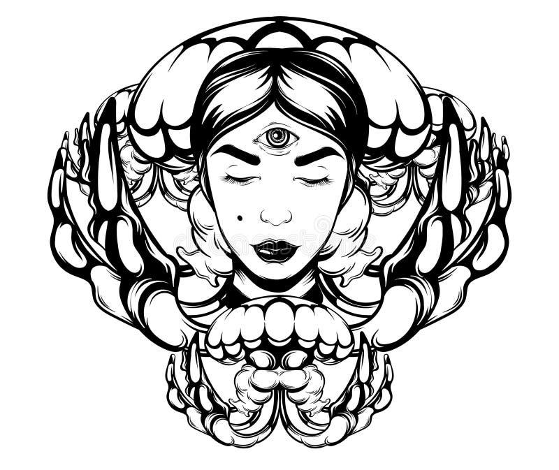 Ilustração tirada mão do vetor de medusas com caixa de fortuna ilustração do vetor