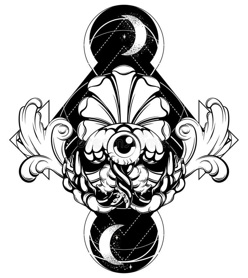 Ilustração tirada mão do vetor de medusas com a lua e o elemento barroco isolados ilustração royalty free