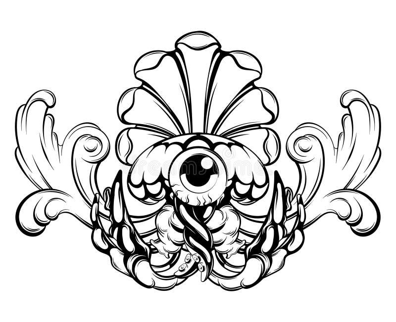 Ilustração tirada mão do vetor de medusas com o elemento barroco isolado ilustração do vetor
