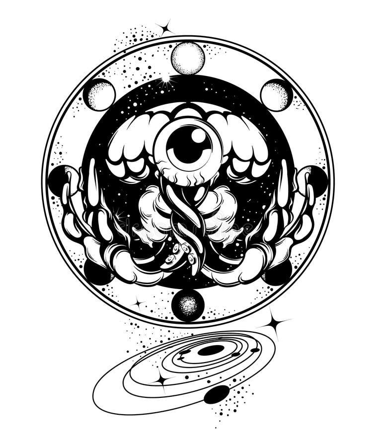 Ilustração tirada mão do vetor de medusas com os elementos cósmicos isolados ilustração stock