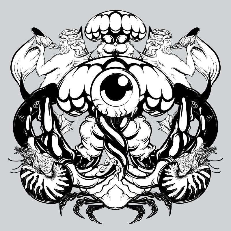 Ilustração tirada mão do vetor de medusas com tritons, caranguejo, nautilus ilustração do vetor