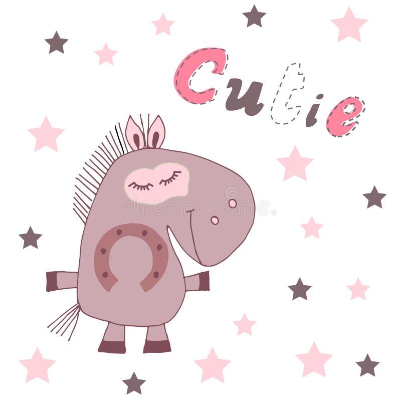 Ilustração tirada mão do vetor de um cavalo bonito dos desenhos animados com mão caligráfica citações escritas Cutie Projeto esca ilustração do vetor