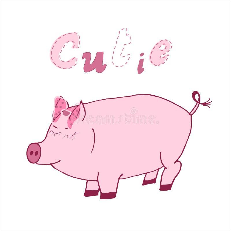 Ilustração tirada mão do vetor de um porco bonito dos desenhos animados com mão caligráfica citações escritas Cutie Projeto escan ilustração stock