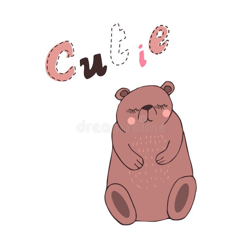 Ilustração tirada mão do vetor de um urso bonito dos desenhos animados com mão caligráfica citações escritas Cutie Projeto escand ilustração royalty free