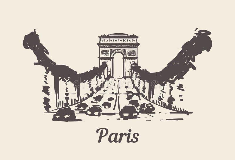 Ilustração tirada mão do vetor do esboço de Champs-Elysees Paris ilustração do vetor