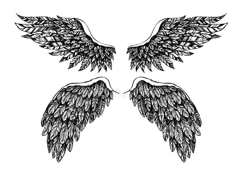 Ilustração tirada mão do vetor - grupo de asas Bom contra o mal ilustração royalty free