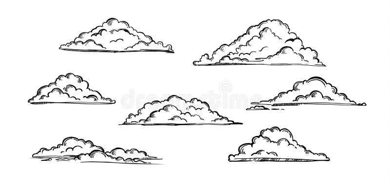 Ilustração tirada mão do vetor - grupo de nuvens Vintage gravado ilustração stock