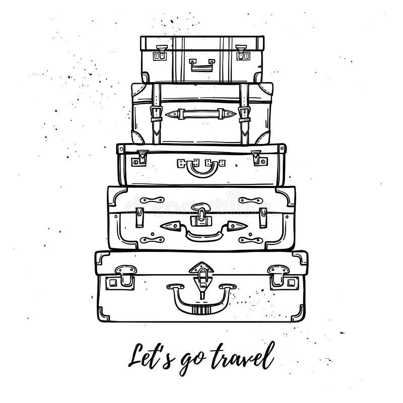 Ilustração tirada mão do vetor - Let& x27; s vai curso Suitca da forma ilustração royalty free