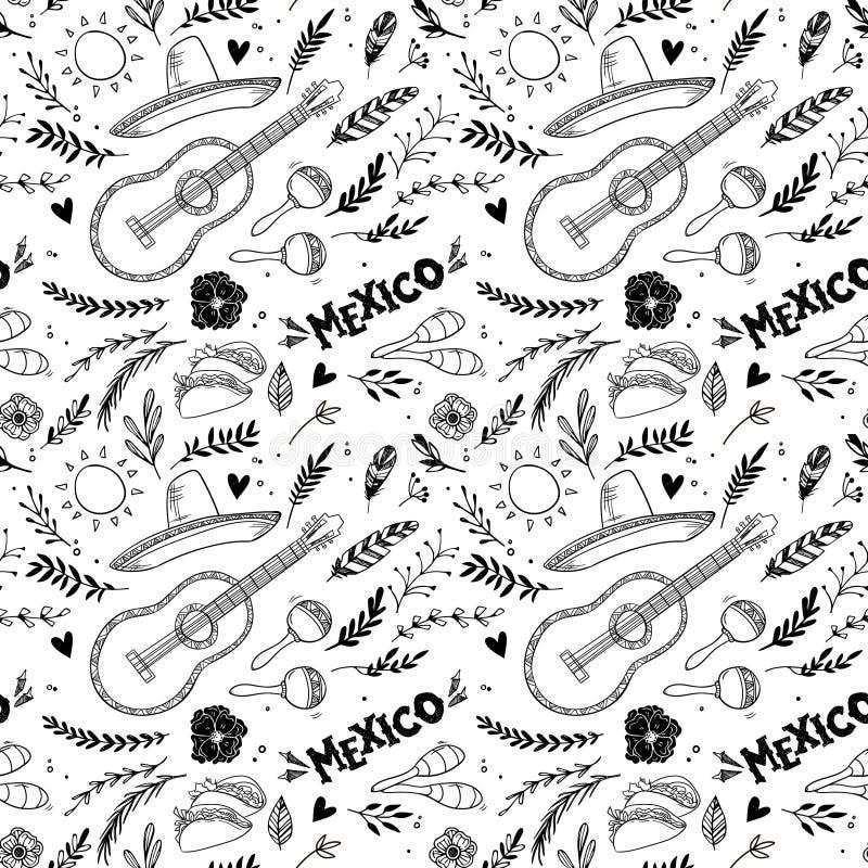 Ilustração tirada mão do vetor - México Festival de música ilustração do vetor