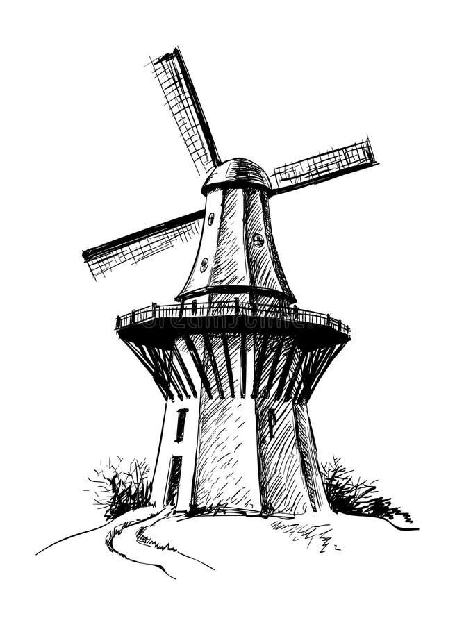 Ilustração tirada mão do vetor do moinho do esboço ilustração royalty free