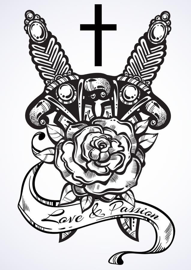 Ilustração tirada mão do vetor do punhal dois com rosa e cruz Detalhou belamente a arte finala do vintage isolada Romance escuro ilustração stock