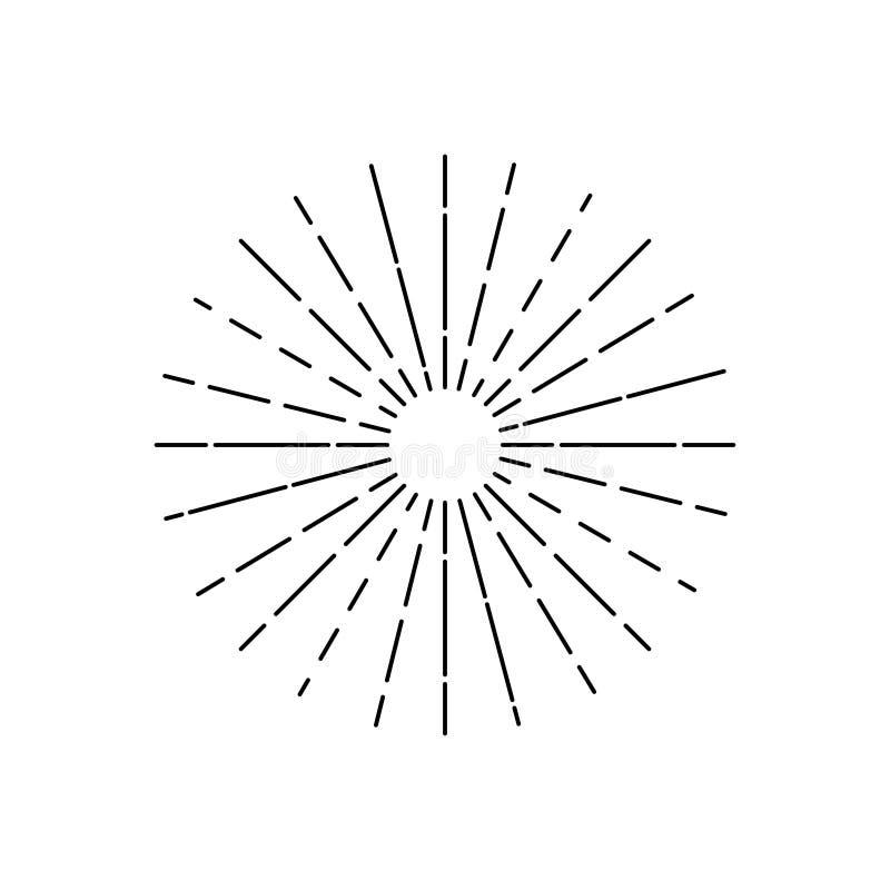 Ilustração tirada mão do vetor do sunburst Sun irradia a mão tirada Ilustração do vetor no fundo branco ilustração stock