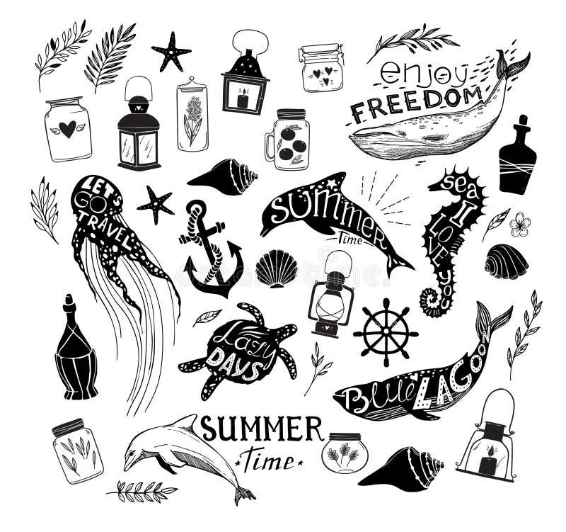 Ilustração tirada mão do vetor - vida marinha ilustração do vetor