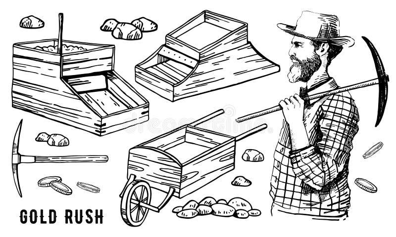 Ilustração tirada mão do vintage do otline do vetor da febre do ouro de Califórnia ajustada com as caixas do mineiro e do balanci ilustração do vetor