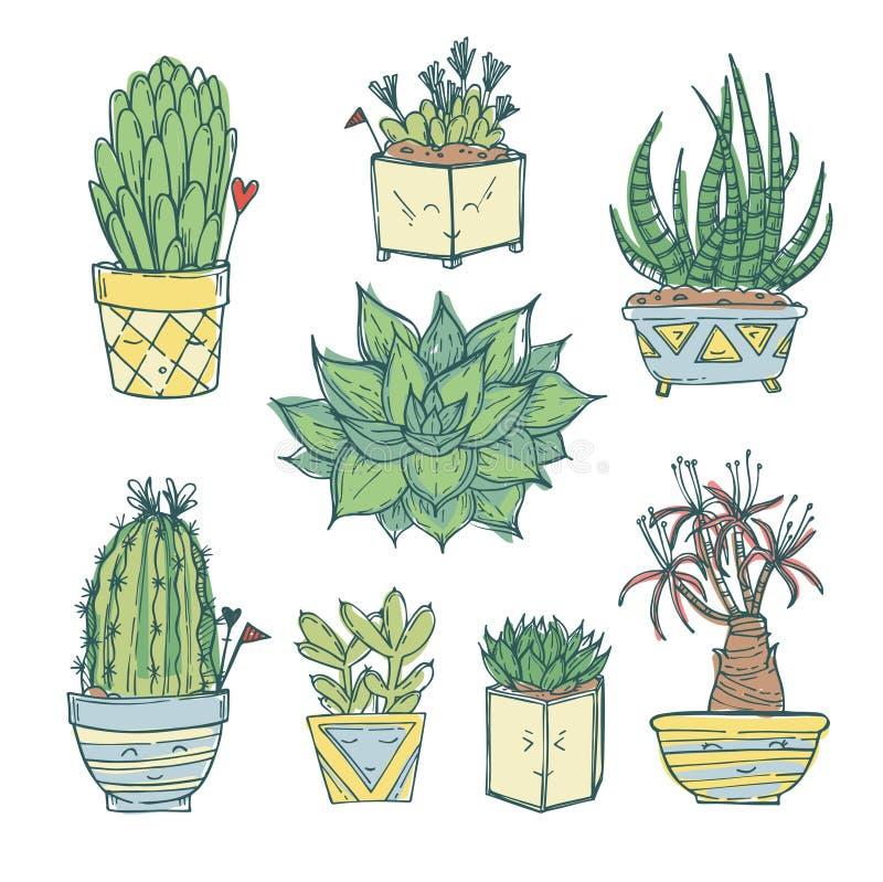 Ilustração tirada mão - grupo de cacto bonito e de plantas carnudas ilustração royalty free