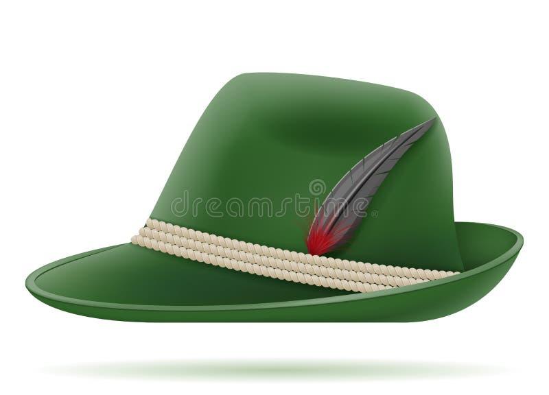 Ilustração tradicional alemão verde do vetor do chapéu ilustração stock