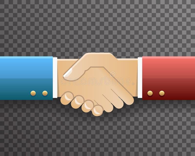 Ilustração transparente do vetor do projeto do fundo de Handshake Partnership Symbol do homem de negócios ilustração royalty free