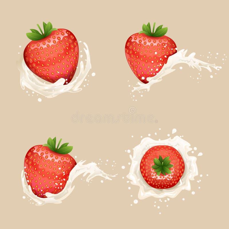 Ilustração transparente realística do vetor do projeto do fundo 3d da morango de creme do fruto das gotas do respingo da onda do  ilustração stock