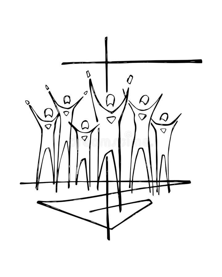 Ilustração transversal religiosa do símbolo e dos povos ilustração do vetor