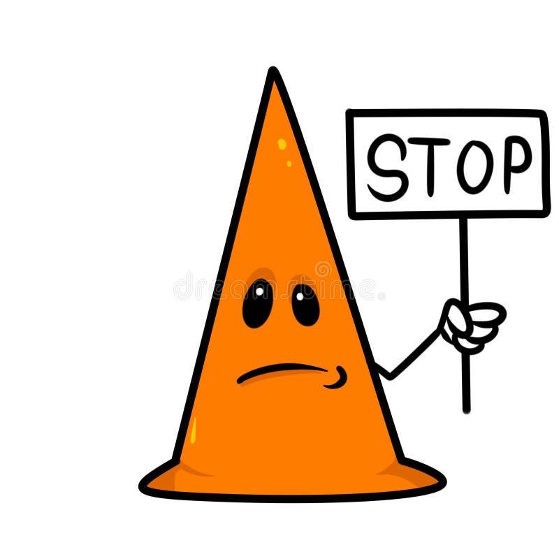 Ilustração triangular dos desenhos animados do sinal da parada da estrada ilustração do vetor