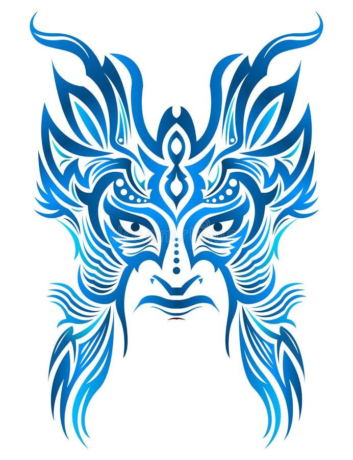 Ilustração tribal do vetor da cara da máscara, guerreiro do estilo da tatuagem ilustração stock