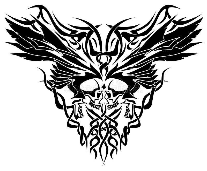 Ilustração tribal dos crânios & das asas ilustração do vetor