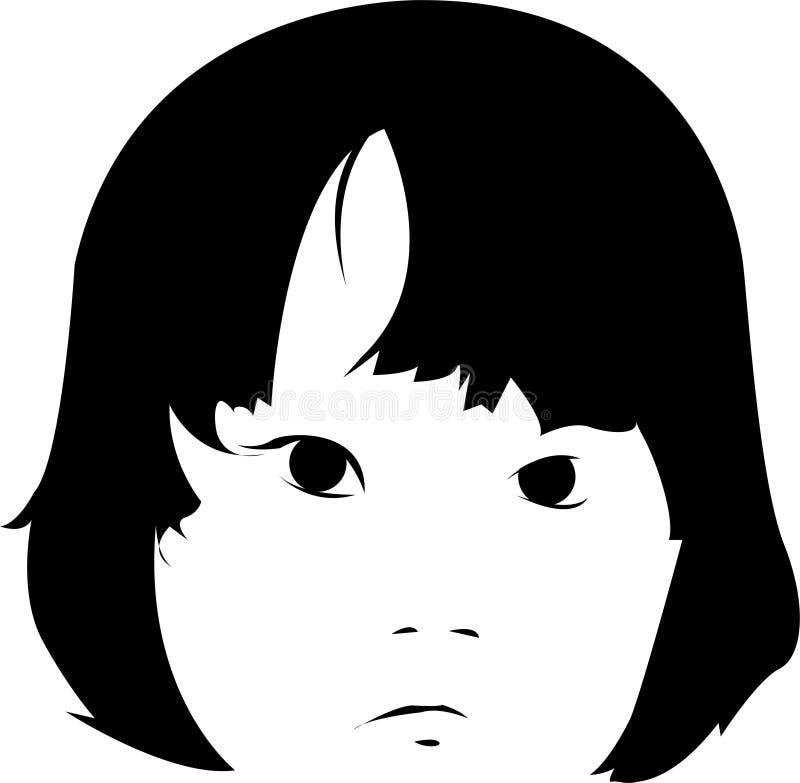 Ilustração triste da face da menina fotografia de stock royalty free