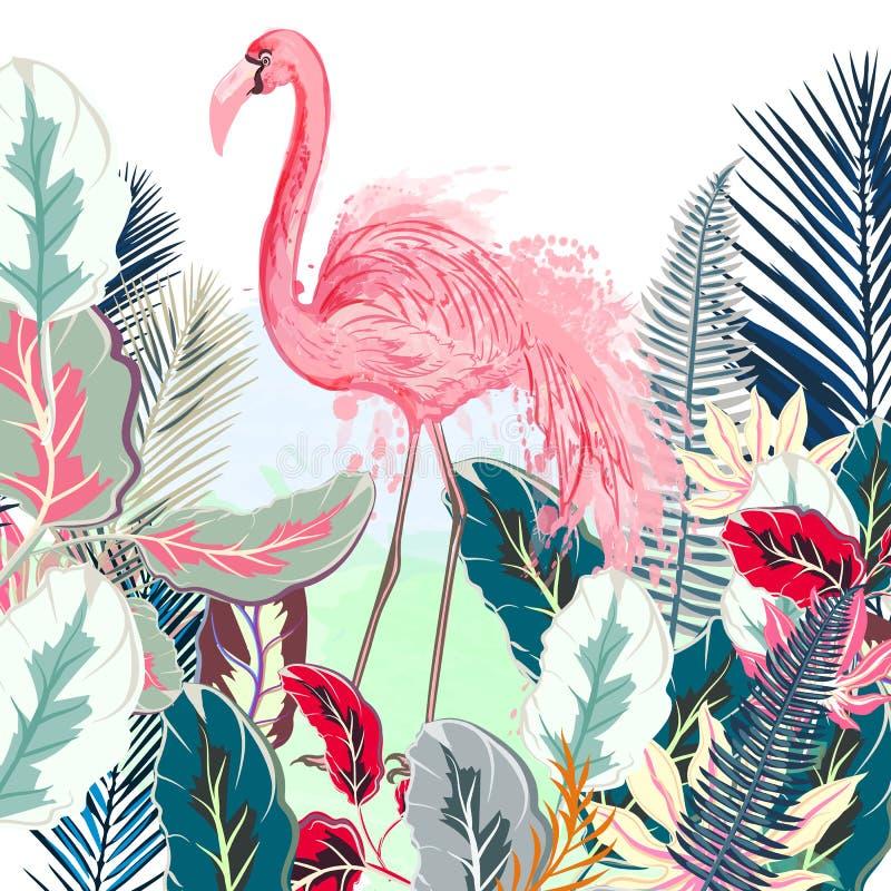 Ilustração tropical do vetor com flamingo cor-de-rosa e pasto tropical