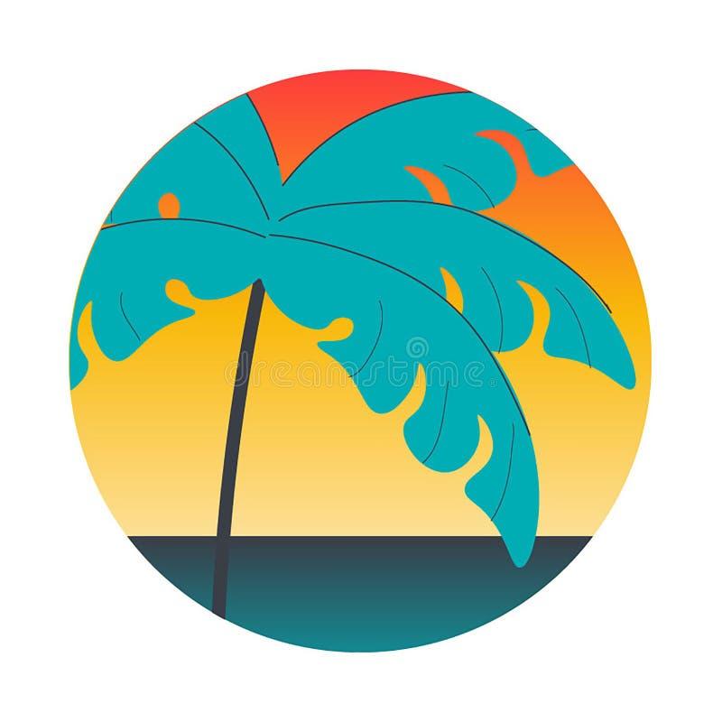 Ilustração tropical do vetor da palma do por do sol ilustração do vetor