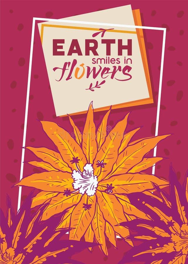 Ilustração tropical do vetor das flores Bandeira do projeto do verão, cartaz, folheto, inseto Sorrisos da terra no fundo das flor ilustração stock