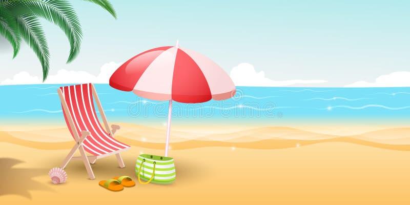 Ilustração tropical do vetor do resort da ilha Paraíso dos viajantes com Sandy Beach, o mar azul e as palmeiras listrado ilustração royalty free