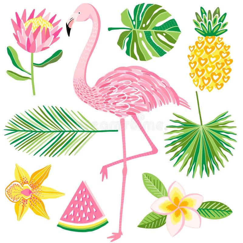Ilustração tropical do vetor do verão Flamingo, abacaxi, folhas da selva ilustração royalty free
