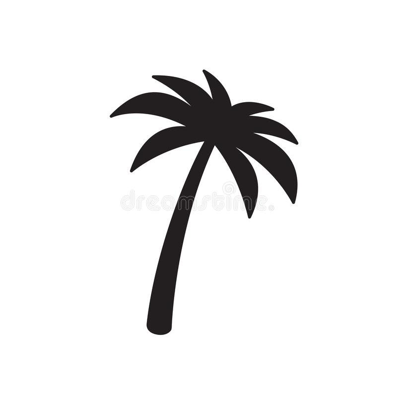 Ilustração tropical dos desenhos animados do caráter da praia do verão do sinal do símbolo da árvore de coco do logotipo do vetor ilustração do vetor