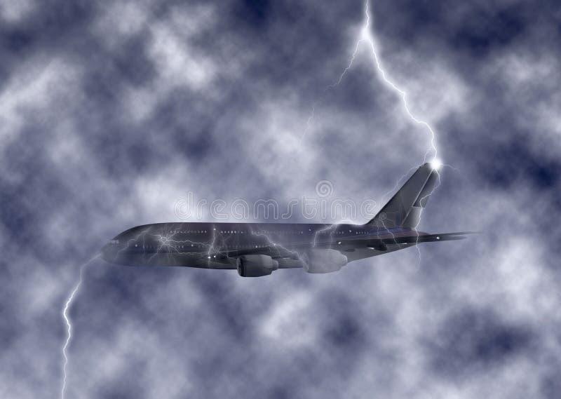 Ilustração turbulenta enorme do céu de Jet Plane Struck By Lightning ilustração do vetor