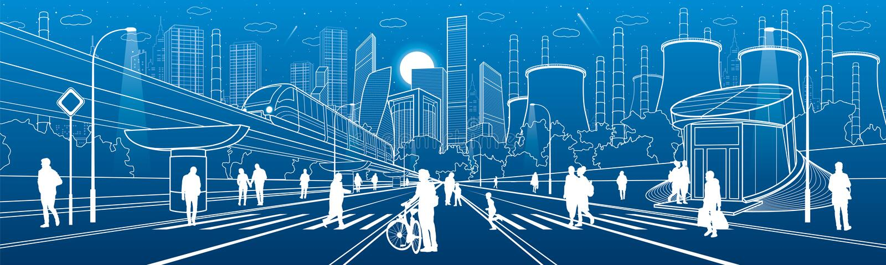 Ilustração urbana da infraestrutura da cidade Povos que andam na rua Arquitetura moderna da cidade Movimento do trem na ponte Ele ilustração stock