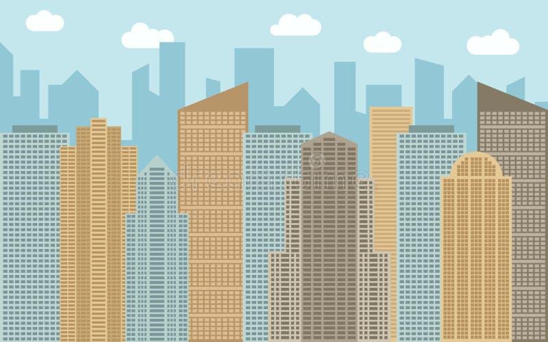 Ilustração urbana da paisagem do vetor Opinião da rua com arquitetura da cidade, arranha-céus e construções modernas