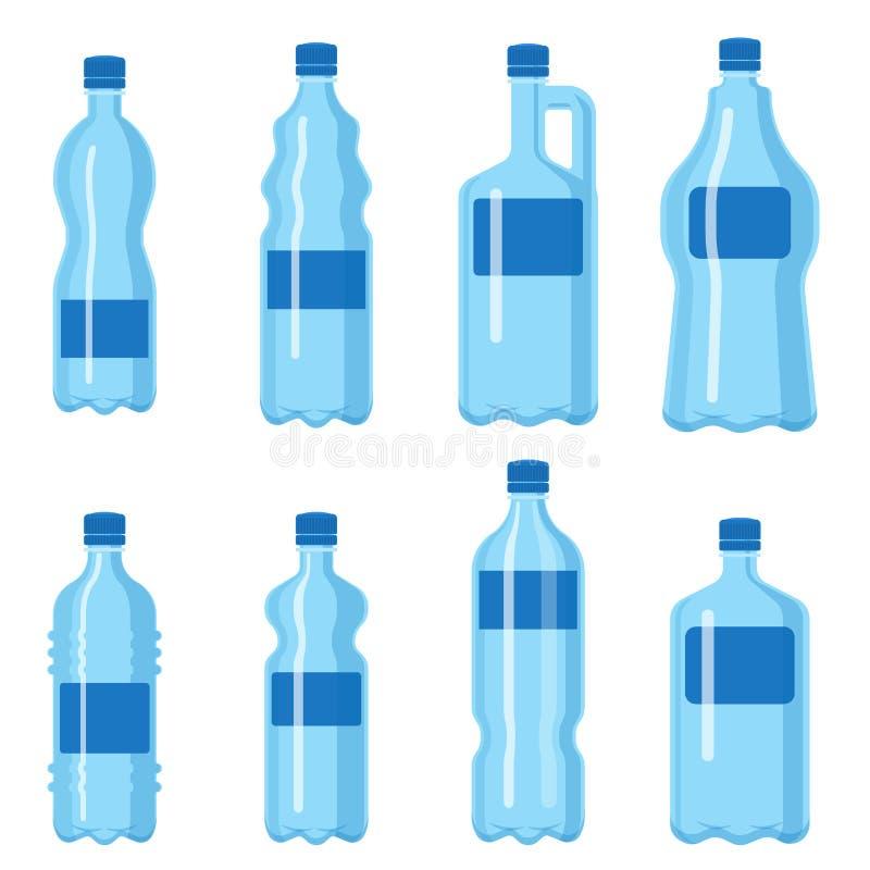 Ilustração vazia fluida do molde da silhueta do molde do aqua líquido limpo azul plástico da natureza da placa da garrafa de água ilustração do vetor