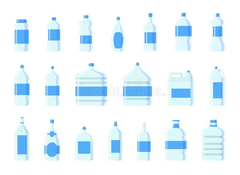 Ilustração vazia fluida do molde da silhueta do molde do aqua líquido limpo azul plástico da natureza da placa do vetor da garraf ilustração royalty free