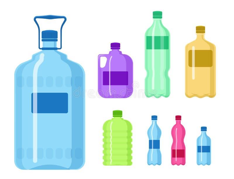 Ilustração vazia fluida do molde da silhueta do molde do aqua líquido limpo plástico da natureza da placa do vetor da garrafa de  ilustração do vetor