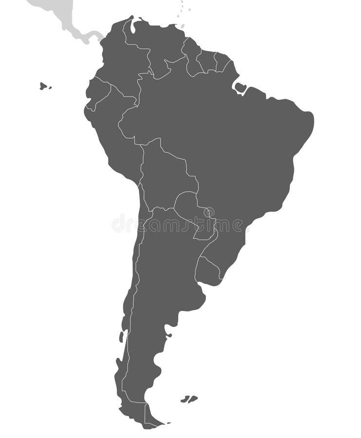 Ilustração vazia política do vetor do mapa de Ámérica do Sul isolada no fundo branco ilustração do vetor