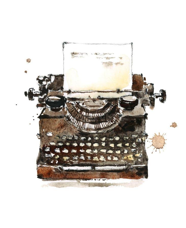 Ilustração velha da aquarela da máquina de escrever do vintage pintado à mão ilustração royalty free
