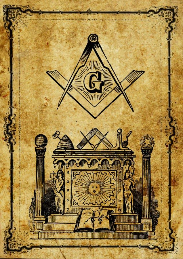 Ilustração velha da maçonaria do vintage ilustração royalty free